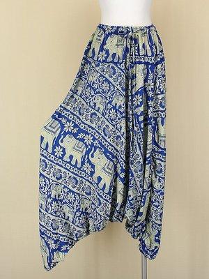 貞新二手衣 藍色印度大象民俗風棉質飛鼠褲哈倫褲垮褲F號(10365)