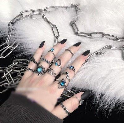 【黑店】復古個性戒指套裝 13只戒指套裝 藍色海洋星石浪漫戒指套裝 個性飾品隨心搭配戒指套裝AC119