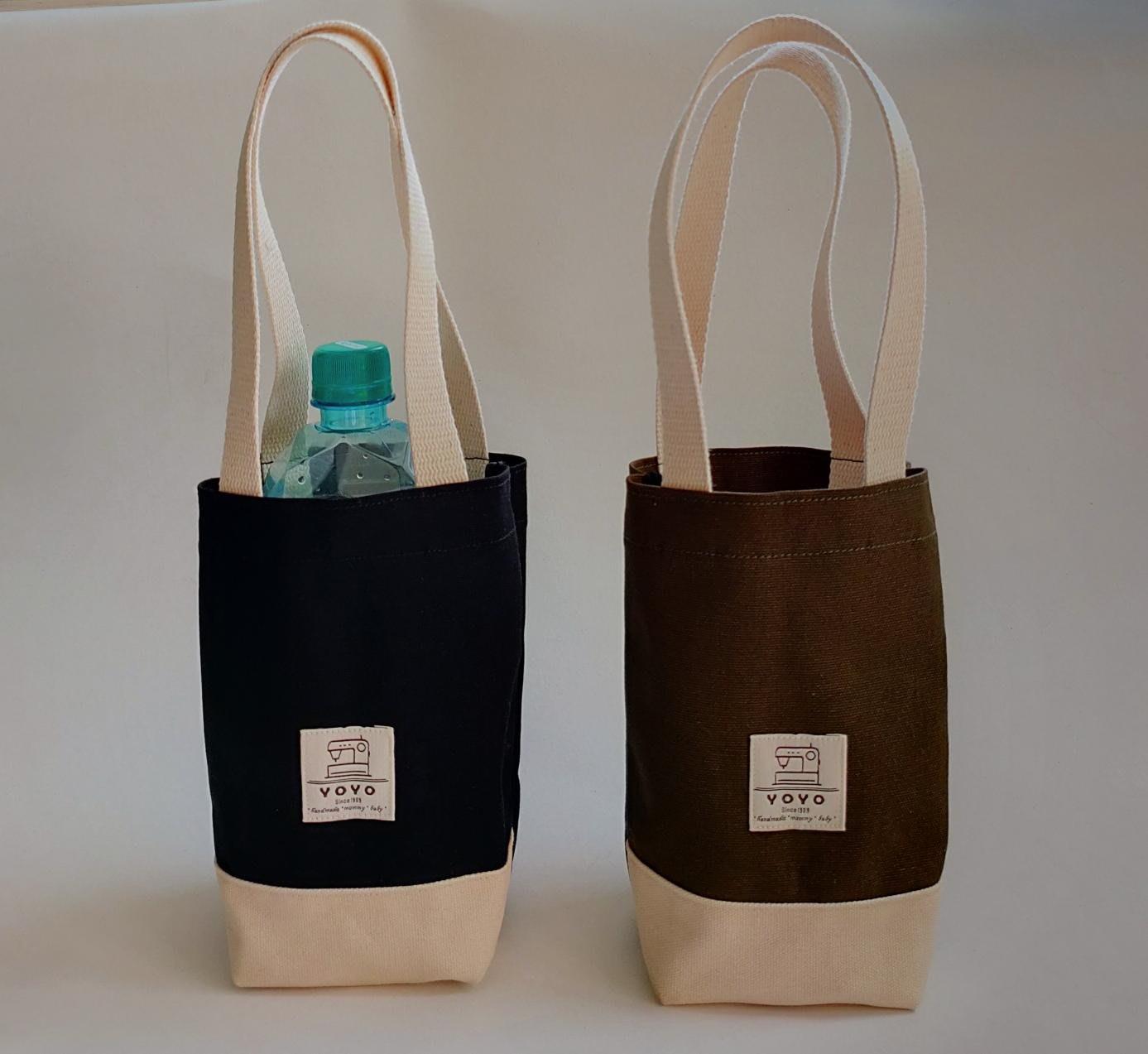 (正妹的店)簡約拼色文青帆布防水飲料袋 保温瓶袋 手提袋