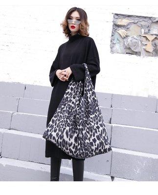[w-6622]暗黑歐美大容量豹紋絨毛布手提袋
