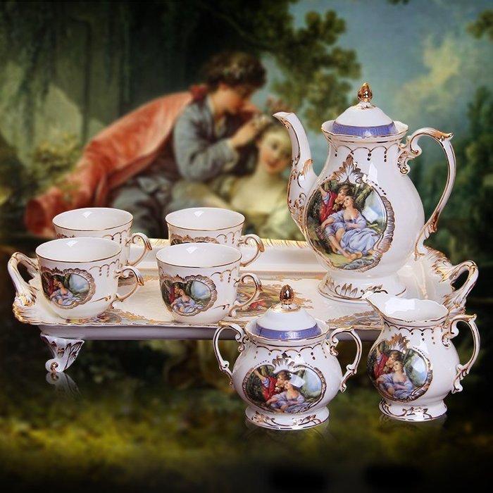 【優上精品】咖啡具套裝 歐式茶具咖啡杯套裝帶托盤禮盒裝 英式下午茶茶具套具(Z-P3232)