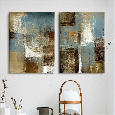 中式掛畫三件組【RS Home】50×70cm 抽象藝術無框掛畫相框木質壁畫北歐中式裝飾畫板民宿攞飾油畫掛鐘掛畫
