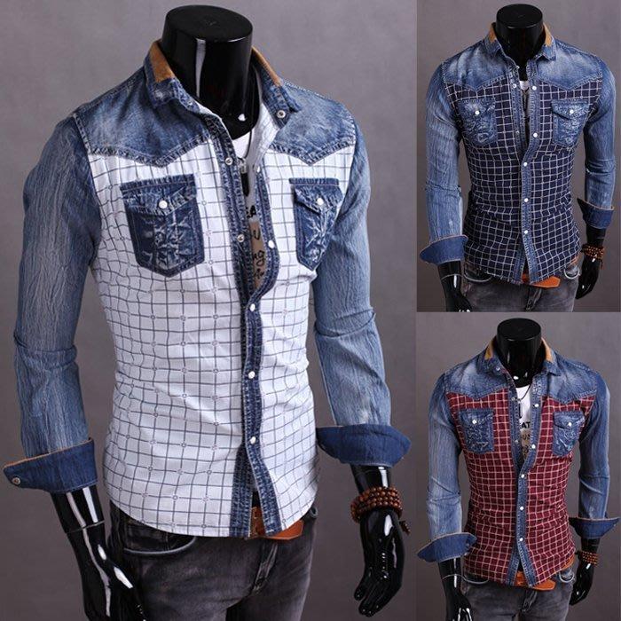 『潮范』 W06 新款男士格子襯衫韓版時尚牛仔襯衣長袖襯衫修身外套拼接襯衫格紋襯衫NRB051850