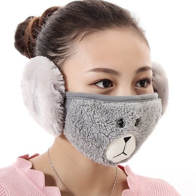 【愛莉絲現貨精品】【買三送一】冬季必備保暖卡通造型小熊絨毛防塵口罩耳罩二合一(編號7/灰色) 現貨