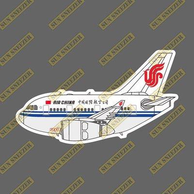 中國國際航空 Q版 空中巴士 A330 飛機造型 防水3M貼紙 尺寸88mm