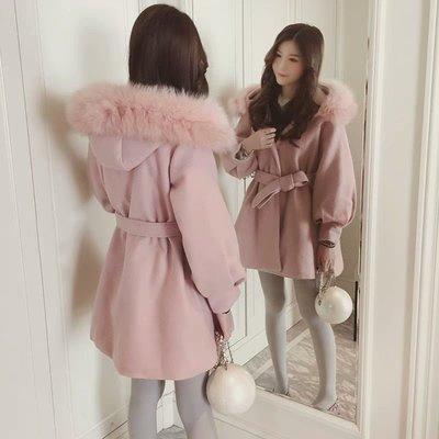限時特價 韓系時尚氣質甜美加厚修身顯瘦蝴蝶結腰綁帶毛領連帽外套