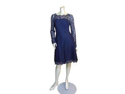 和藹可親精品 保證正品  義大利 BLUMARINE  長袖深藍蕾絲洋裝-高雅氣息