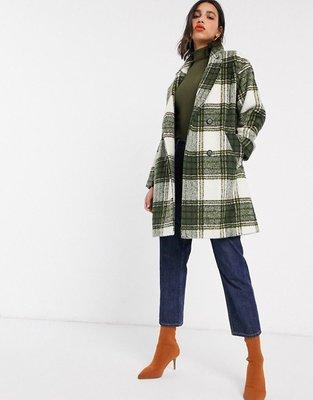 ~The Black Dan Moccani~ [六折] Miss Selfridge 綠格紋 大翻領雙排扣 羊毛大衣