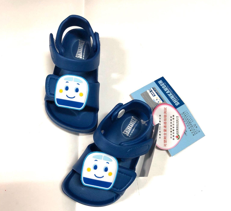 [鞋之誠] 台灣製 新幹線小火車  魔鬼氈 超輕量 防水涼鞋  藍色色13~18號