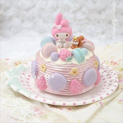 Sweet Garden, My Melody 馬卡龍蛋糕造型音樂盒 附盤子(免運) 甜蜜可愛點心盤 生日禮物