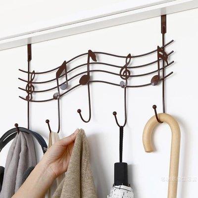免打孔創意音符門后掛鉤排鉤臥室壁掛衣架門掛鉤浴室廚房鋼琴掛架