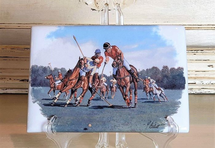 【卡卡頌 歐洲古董】🐴法國老件  LIMOGES  利摩日 馬術 馬球 瓷版畫(老件未用)  p1802 ✬