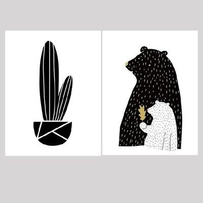 新品抽象黑白風格仙人掌黑白熊客廳臥室餐廳