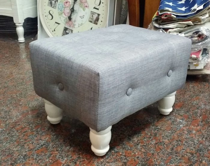美生活館 --- 全新鄉村工業風格 實木腳 棉麻布拉扣 方形沙發矮凳/穿鞋椅/寶貝椅-可訂製