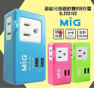 {阿治嬤} 明家 MIG 3孔+2孔+雙 USB 埠 15A 分接式插座 SL2231U2 防火材質 充電座 插頭 台北市
