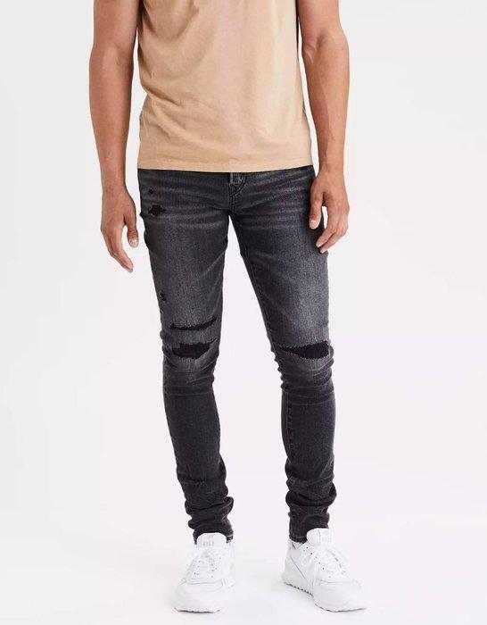 【現貨 30 32 34 36 】AE 美國老鷹  經典彈性合身窄管微刷破牛仔褲 緊身窄管牛仔破褲