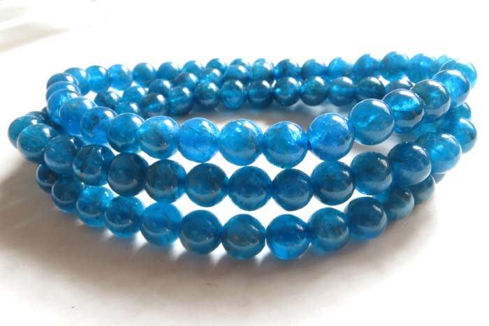 天然絕美湛藍磷灰石三圈手鍊項鍊天然水晶飾品透體手串手鏈手珠手環6mm/33.5g珠寶玉石寶石首飾飾品專櫃精品