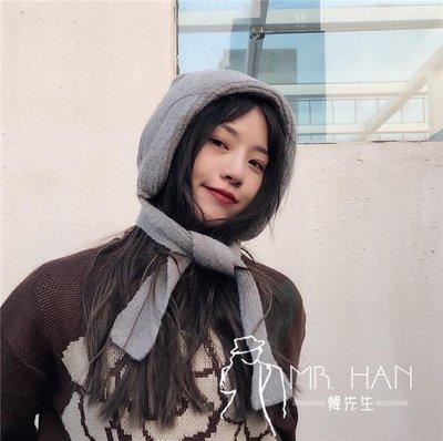 帽子  韓國復古純色護耳毛線帽子女秋冬保暖法式系帶包頭針織帽雷鋒帽