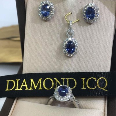 🌟套裝藍寶石首飾⏩⏩閃亮登場💞💍主石各1卡藍寶鑲18k白金鑽石戒指➕吊咀➕耳環 ✨ ✨ 藍寶鑽石套裝💞限量發售🎯