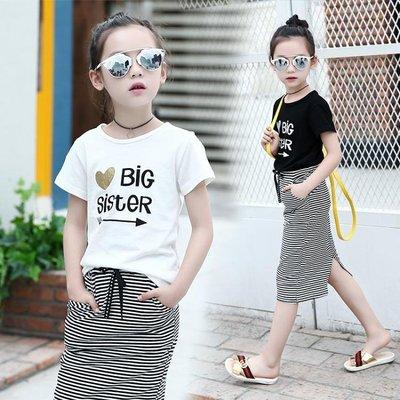 女童2018新款夏裝兒童夏季女孩T恤條紋裙兩件套潮 LQ2280