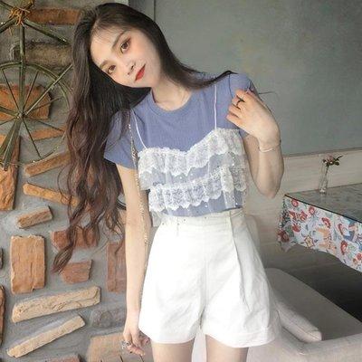 針織短袖 夏季韓版女裝新款蕾絲拼接假兩件上衣圓領短袖針織針織衫百搭T恤