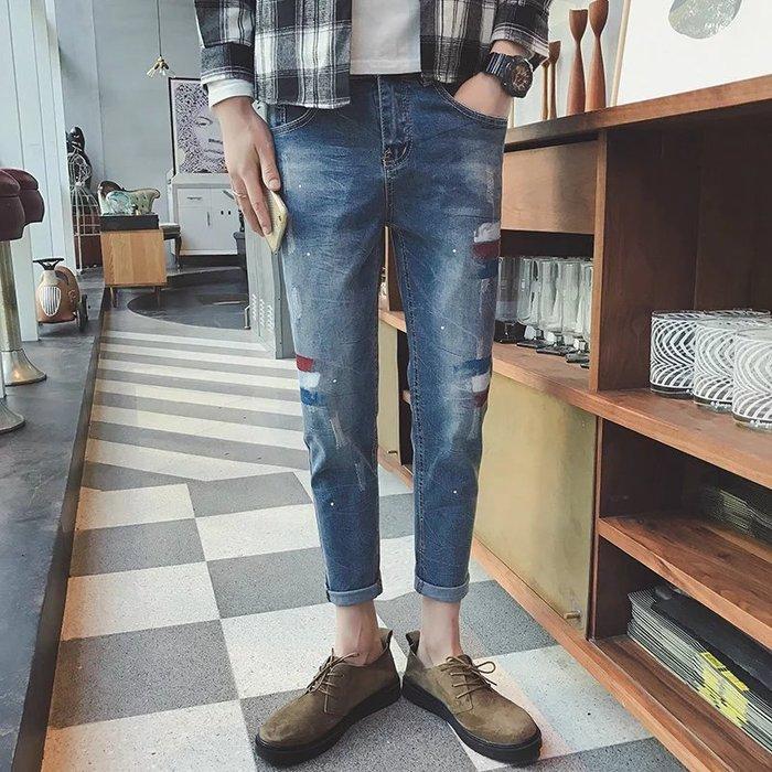 油漆牛仔褲男士新款九分牛仔褲青少年修身百搭小腳褲潮流破洞油漆潑墨九分褲 修身牛仔褲