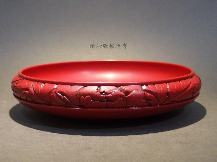 ☆清沁苑☆日本茶道具~日本傳統工藝 村上堆朱 木製 菓子器 丸盆~d108