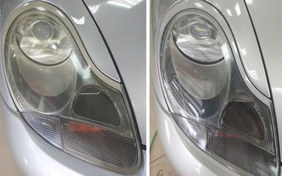 大燈快潔 Porsche 保時捷 718 Boxster Cayman 911 原廠大燈泛黃霧化拋光翻新處理