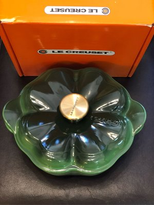 Le Creuset Green Enameled Clover Pot with Gold knob