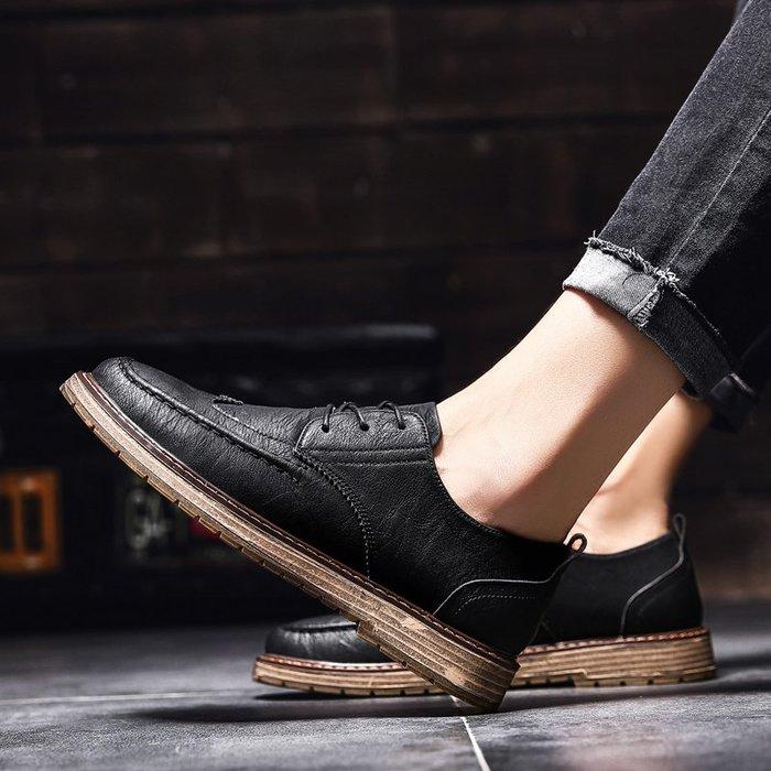 TIME&NES~鞋子男潮鞋春季2020新款正韓潮流休閒鞋百搭夏季透氣布洛克皮鞋男