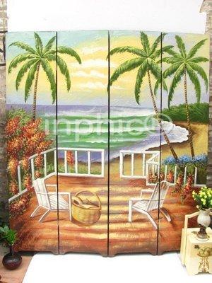 INPHIC-歐式手繪屏風 情迷地中海風景彩繪四扇大屏風