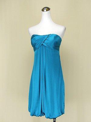 ◄貞新二手衣►cache 專櫃 土耳其藍平口露肩緞面洋裝M(2號)(62803)