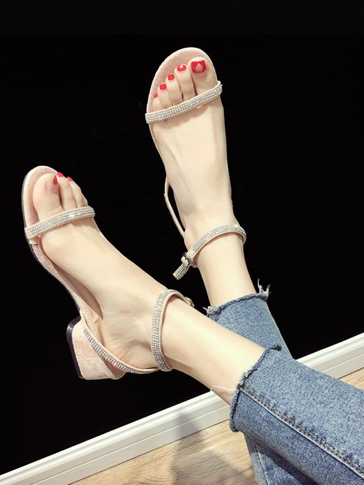 小尤家~網紅涼鞋女夏季新款韓版時尚百搭粗跟水鉆一字帶超火羅馬鞋潮