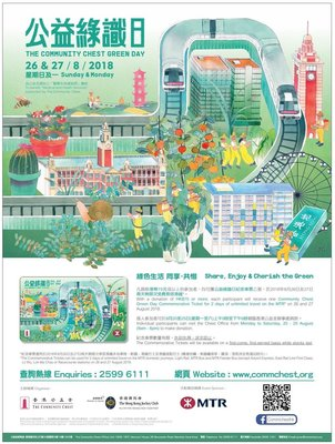 公益金綠識日 The Community Chest Green Day 26-27 Aug 2018 紀念車票地鐵飛 MTR Ticket Expired港鐵