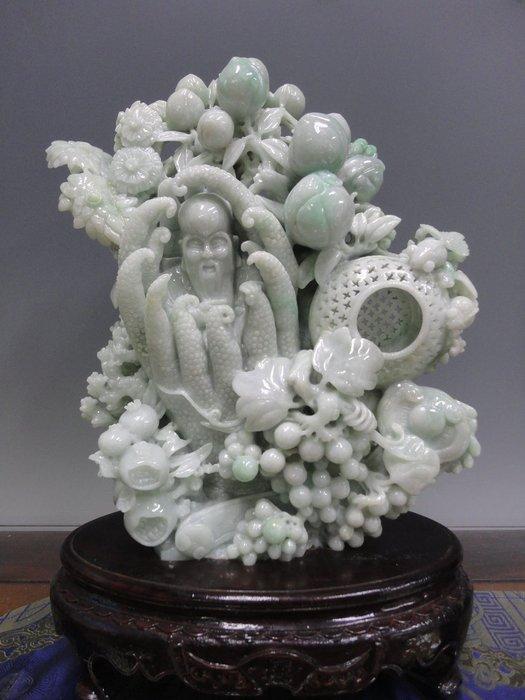藏雅軒-早期收藏-緬甸玉雕刻精雕擺件-豆青-如意人生