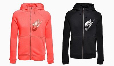 【Dr.Shoes 】Nike Hoodie Fz Gx1 女裝 運動 連帽外套 黑829629-010  橘紅850
