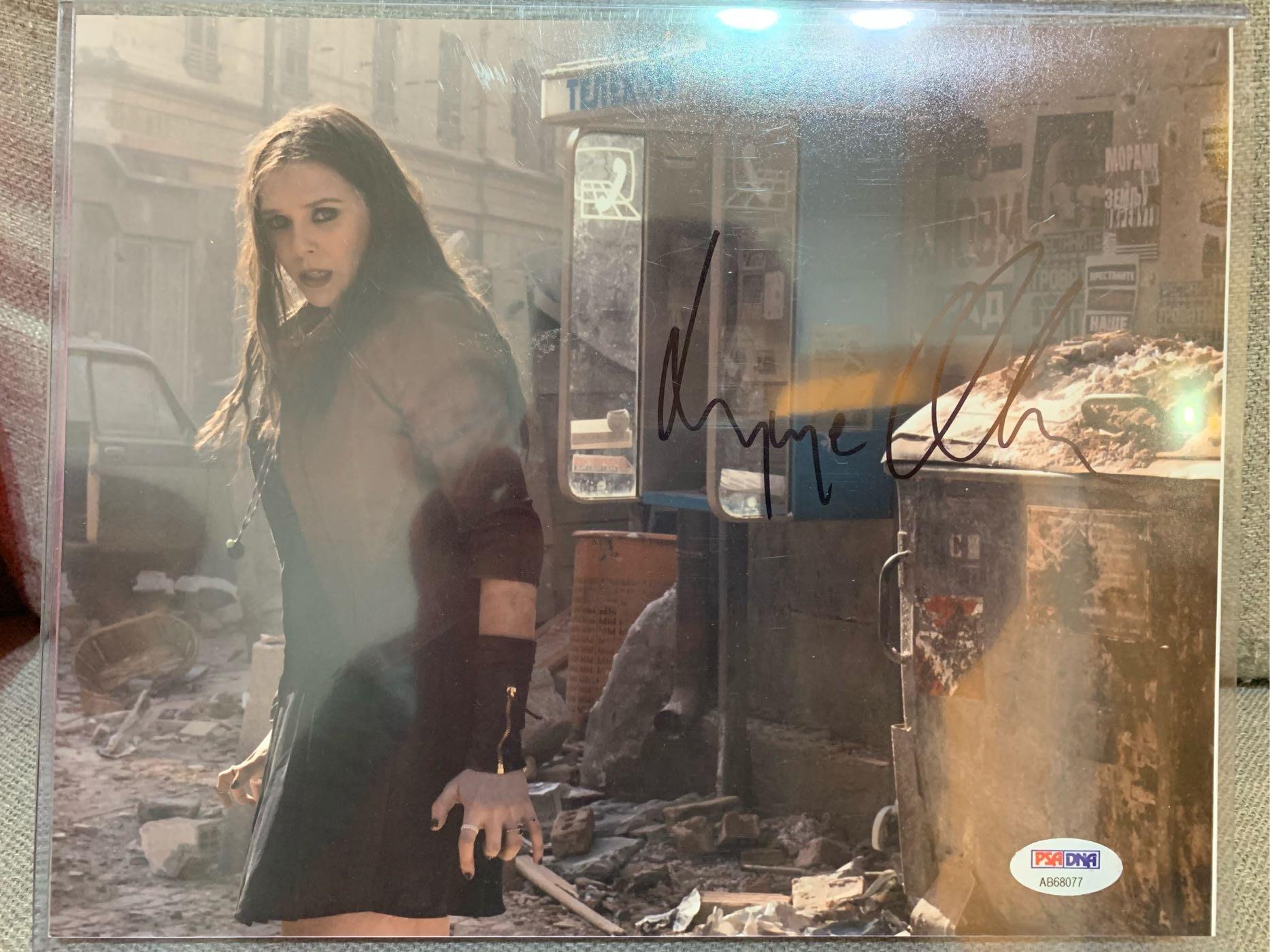 漫威 MARVEL 復仇者聯盟 終局之戰 緋紅女巫 Elizabeth Olsen 親筆簽名照 8x10 PSA DNA 認証 iron man