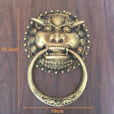 中式仿古實木門獸頭大門拉環純銅獅子頭鐵門拉手復古虎頭廟門把手