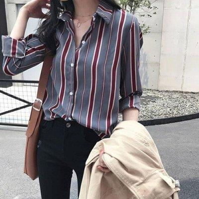 雪紡條紋襯衫女仙女范春裝2019正韓設計感小眾很仙的上衣洋氣襯衣