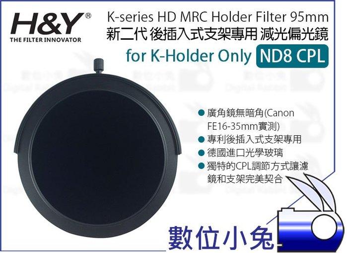 數位小兔【H&Y 新二代 K-series ND8 CPL 減光偏光鏡 95mm】公司貨K-Holder後插入式支架專用