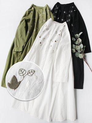 Joyce‧W~*【D2012902】☆森林系Zakka☆日系。預購。精緻花卉刺繡寬鬆連身裙。3色
