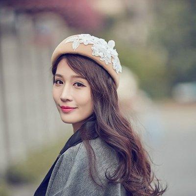 貝雷帽毛呢帽-立體白色花朵圓頂女帽子73vt31[獨家進口][米蘭精品]