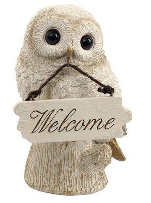 日本進口 貓頭鷹門口花緣庭園園藝客廳房間可愛鳥類擺件裝飾品迎賓門牌裝飾物送禮  5392c