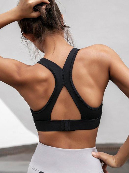 運動內衣女防震跑步集中健身文胸背心式美背瑜珈訓練內衣--崴崴安