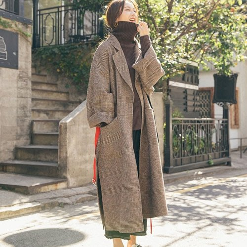 格紋西裝領毛料外套 男友風寬鬆開叉落肩毛呢長大衣 艾爾莎【TAE8002】