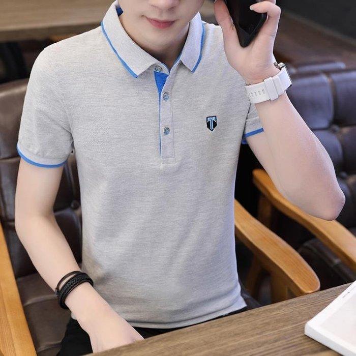 新款商務t恤男士短袖翻領體恤夏季男裝休閒保羅襯衫領polo衫