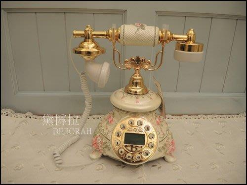 高雄.黛博拉家飾精品.鄉村風復古電話古董電話仿古電話立體玫瑰花造型電話來電顯示家用電話有線電話居家佈置