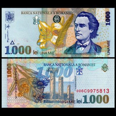 森羅本舖 現貨實拍 羅馬尼亞 1000列伊 1998年 透明 塑料鈔 百合 古希臘遺跡 詩人