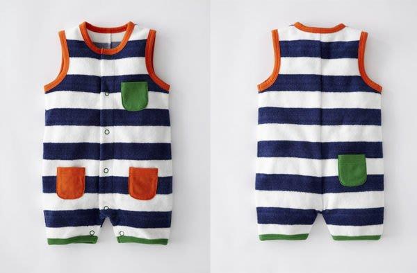 *小豆仔的屋Dou Dou House*英國歐洲進口Mini Boden童裝/無袖浴巾式條紋連身衣-深藍-Size:12-18M