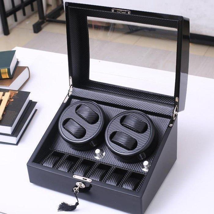 [4+6] 碳纖維卡夢 鋼琴烤漆自動轉錶盒 4格搖錶器+6格收藏盒 靜音機械錶盒 手錶盒 自動機械手錶 轉錶器 晃錶盒